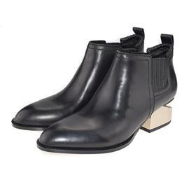 Vita Fede 2017秋冬新款尖头马丁靴中跟方跟粗跟缺跟真皮短靴单靴