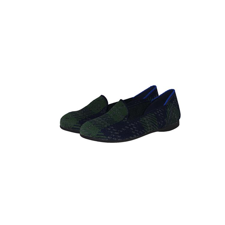 【xerkng】翻盖深绿格子鞋女一脚蹬休闲风女平底鞋鞋飞织单鞋