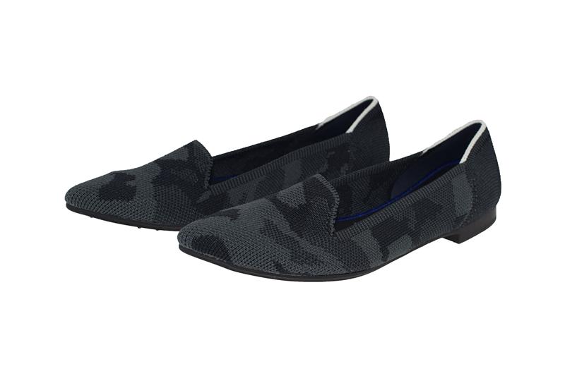 【xerkng】灰黑色翻盖鞋女一脚蹬休闲风女平底鞋鞋飞织单鞋