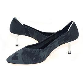 【XerkngRothys】灰色迷彩潮流女鞋低帮鞋百搭飞线编织高跟鞋女图片