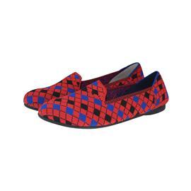 【xerkng】翻盖红蓝格子鞋女一脚蹬休闲风女平底鞋鞋飞织单鞋