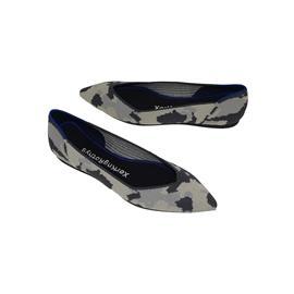 【xerkngrothys】黑白拼色鞋女一脚蹬休闲风女平底鞋鞋飞织单鞋