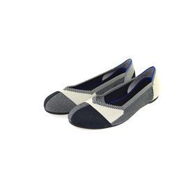 【xerkng】欧美拼格时尚飞织平底鞋女圆头休闲女单鞋