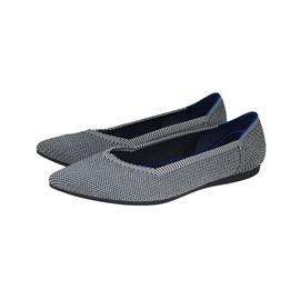 【xerkngrothys】黑白简约时尚女鞋百搭飞线编织尖头平底鞋女图片