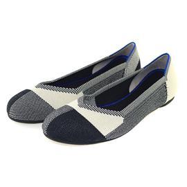 【xerkngrothys】欧美拼格时尚飞织平底鞋女圆头休闲女单鞋