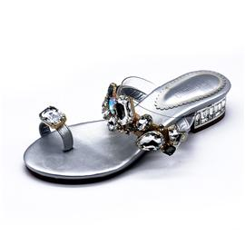 昕蕾女鞋佛拉维亚时尚玻璃钻面仿猪皮内里女式凉鞋