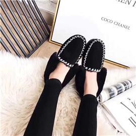 牛皮羊毛小黑鞋