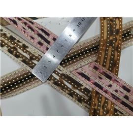 惠得编织鞋包用,3.5cm豹纹抽条编织