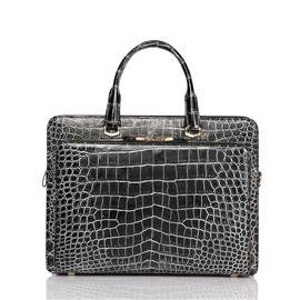 佛罗拉新款鳄鱼皮男士公文包手提包大容量真皮男包 商务休闲