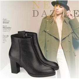 萊思麗時尚牛皮舒適粗跟圓頭女短靴