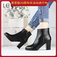 莱思丽时尚牛皮舒适粗跟圆头女短靴图片