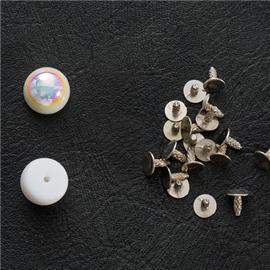 厂家批发 diy饰品配件 高半圆珍珠撞钉铁底钉 箱包宠物带配件