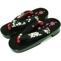 日式桐木木屐亮漆印花人字拖木拖鞋图片