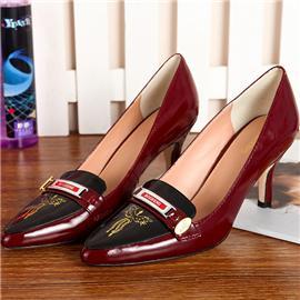 新款上市真皮漆皮女士商务正装高跟鞋女式工作鞋