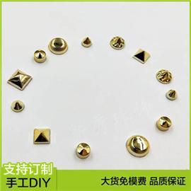 广州意昂饰品 abs子弹头塑料铆钉 7mm衣服扣子塑料铆钉 鞋面锥形金色饰品铆钉