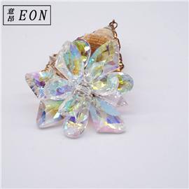 厂家直销手工缝制花朵形水钻鞋花鞋扣 幻彩玻璃装饰水晶鞋花配件