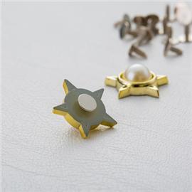 广州生产厂家 五角星珍珠双套铆钉 形塑胶面铁底钉 箱包配件