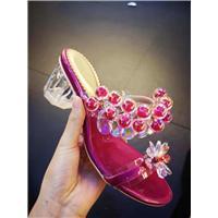 广州昕蕾鞋业新款式水晶玻璃饰品凉鞋图片