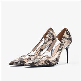 时尚女鞋蟒蛇皮细高跟单鞋