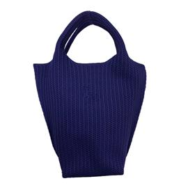 时尚飞织纯色深蓝休闲百搭可回收纱线手提包|雄德新材料