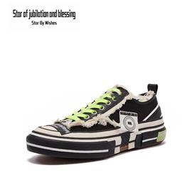 Star By Wish低帮帆布鞋经典男女街头风板鞋运动休闲鞋平板鞋时尚韩版小白鞋情侣鞋 黑色图片
