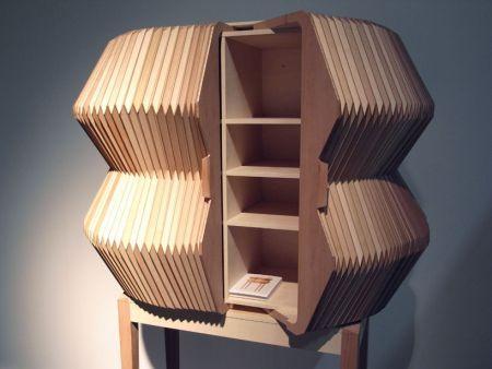 Elastic fiber laser cutting wood slice organ bookshelf