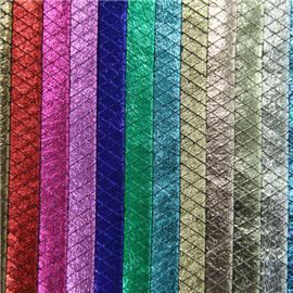 XQ6086优质烫金压胶布 |莱卡布 |蕾丝网布