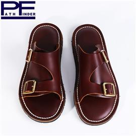 pathfinder夏季新款透气手工拖鞋 PF头层牛皮复古橡胶底凉拖男潮