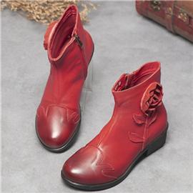 欧歌oge复古女靴真皮女靴