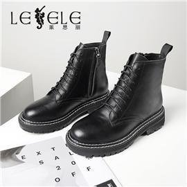 LESELE 莱思丽冬季新款百搭英伦风系带粗高跟短靴 LD7608