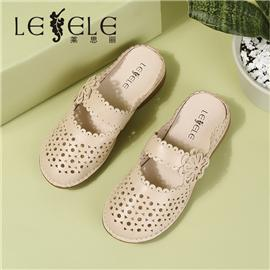 LESELE|Soft bottom comfortable leather cutout half slipper | lb59465