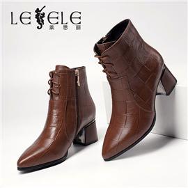 LESELE|莱思丽冬新款格子牛皮耐磨底女款靴LD7725