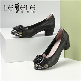 LESELE|莱思丽新款女鞋舒适软皮工作鞋粗跟圆头真皮蝴蝶结四季单鞋|LA7058