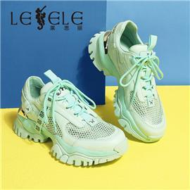 LESELE|莱思丽女鞋春新款牛皮网面厚底增高女运动休闲鞋百搭老爹鞋|MA9774