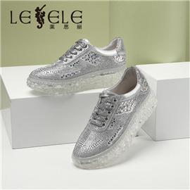 LESELE|莱思丽新款网红老爹鞋女水钻运动鞋布纹羊厚底休闲鞋小白鞋|LA7409
