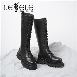 LESELE 莱思丽冬新款羊皮耐磨橡胶底时尚穿搭女士长筒靴LD6785