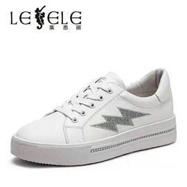 莱思丽秋新款小白鞋女水钻平跟牛皮女鞋单鞋厚底运动休闲鞋LC6871