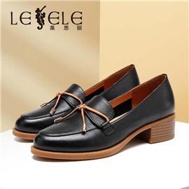 LESELE|莱思丽2020春秋季新款气质百搭通勤粗中跟女单鞋软皮小皮鞋|LA6570