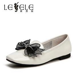 莱思丽女单鞋秋季新款舒适平跟蝴蝶结亮钻漆皮通勤浅口女鞋LC6219