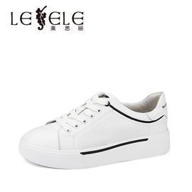 LESELE莱思丽新款女鞋秋小白鞋女 百搭低跟牛皮系带休闲鞋女