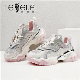 LESELE 莱思丽2021春季新款时尚烫钻牛皮老爹鞋 LA6731