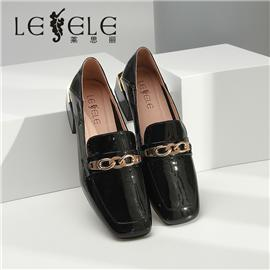 LESELE|莱思丽春季新款英伦风皮鞋女方头单鞋百搭休闲中粗跟乐福鞋|LA6467