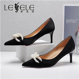 LESELE|莱思丽2021春季新款时尚百搭牛皮橡胶底高跟鞋LA7065