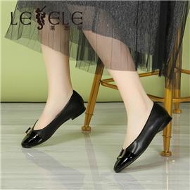 Commuter shoes leather round head single shoes women's flat heel | la7262
