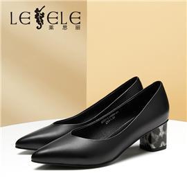 LESELE|莱思丽LESELE简约真皮单鞋职业行政上班鞋方跟尖头羊皮女鞋|LA6592