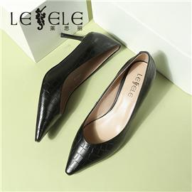 LESELE|莱思丽春新款条纹牛漆皮细跟尖头中跟单鞋欧美白色浅口女鞋|LA7097