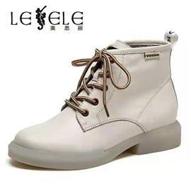 LESELE|莱思丽真皮女单靴马丁靴冬新款百搭明星款系带英伦风短靴女LD6432