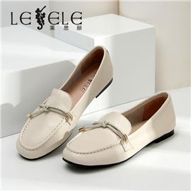 LESELE|莱思丽单鞋女春夏季新款粗跟英伦风复古乐福鞋百搭真皮女鞋|LA6674