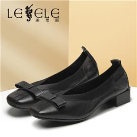 LESELE| Shallow mouth single shoes women's autumn leather new autumn shoes thick heel|LA5879