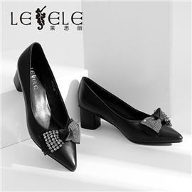 LESELE|莱思丽高跟鞋女2020春季新款时尚水钻蝴蝶结细跟浅口单鞋尖头皮鞋|LA6589